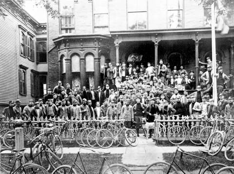 The Lakeview Cycling Club in front of its clubhouse at 401-403 Orchard St. (address is on the old numbering system) in the 1890s.