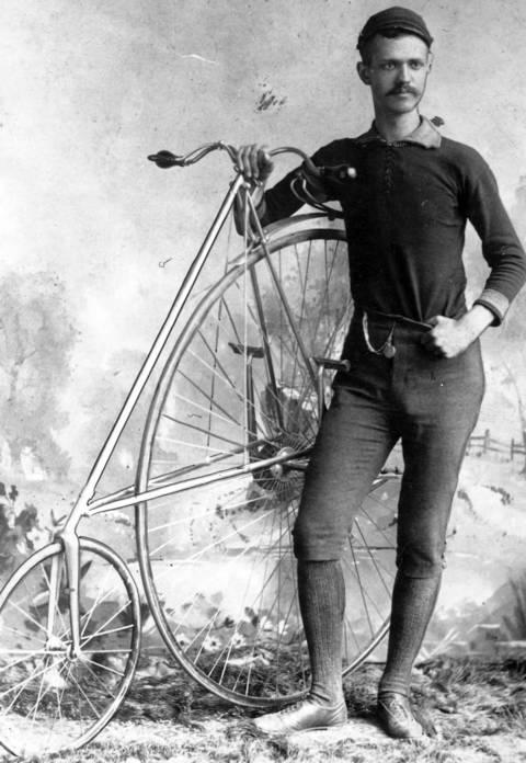 Early bicyclist, circa 1885.