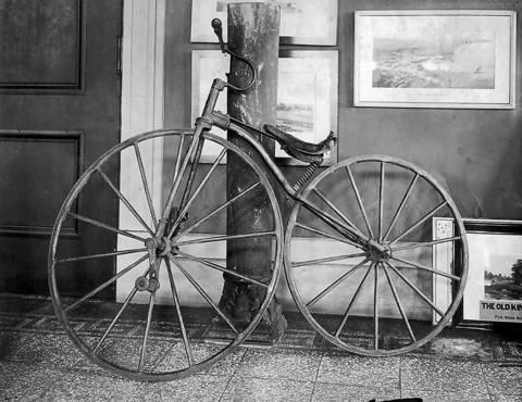An early bicycle, called a velocipede, circa 1911.