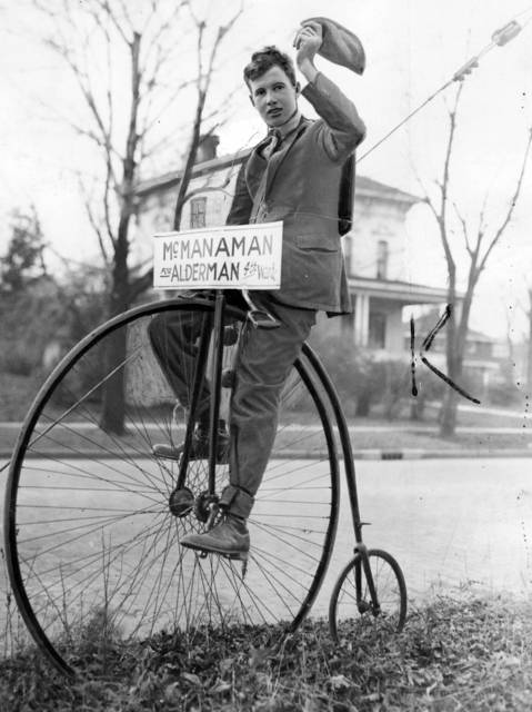 Joseph Fuller, of 238 Ash St. in Waukegan, reverts to this mid-Victorian bicycle to help get votes for Frank McManaman, candidate for 4th Ward alderman in1931.