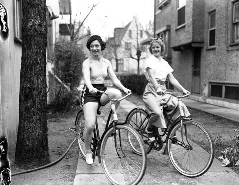 """Ray and Geraldine Hudson, on their bikes at 3738 Tuella Ave., in1937. The Hudsons were dancers in a cabaret program at the Bon-Air Country Club near Wheeling, with acrobatic dances being their specialty. They were called """"The Hudson Wonders."""""""