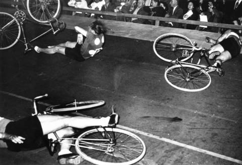 Bike racing could be a dangerous sport, with narrow windows of opportunity for taking the lead. Many crashes and injuries would occur, like during this race with Bill Jacoby in the 1940s.