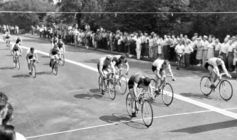 Ted Smith, of Buffalo, N.Y., Tom Montemage, also of Buffalo and Richard Olda, of St. Louis, finished first, second and third, respectively, in the senior men's 5-mile bicycle race at Humboldt Park on Aug. 18, 1945. There was a spill in the race involving 12 cyclists, seven of whom received hospital treatment. Smith, 17, won the 17th National Amateur Bicycle Race held by the Amateur Bicycle League of America.