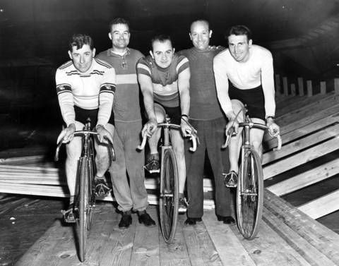 This group of riders was eager to start Chicago's first postwar six-day bike marathon of the year on April 28, 1946, at the Chicago Coliseum. From left are Cocky O'Brien, Charley Logan, Val Melchiori, Tom Saetta and Cesare Moretti, photographed on April 26, 1946.