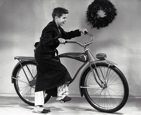 Remember the good old days when there was a bike under the Christmas tree? Photo circa 1946.