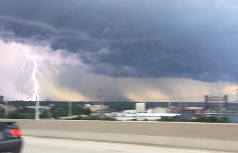 July 24, 2016 lightning strike viewed from Skyway