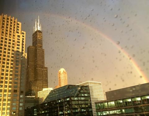Rainbow over the Willis Tower, after a loud & bright storm swept into Chicago tonight.
