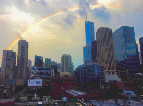 River North is crowned by a rainbow, 7/7/16