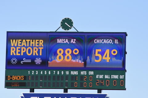 Weather Report at Cubs Spring Training in Mesa AZ. 3/17/2016