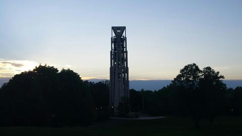 Gorgeous dusk scene last summer with a blanket of clouds behind Millennium Carillon in Naperville.