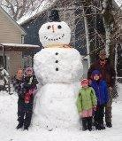 The Wineinger family of Hobart built a giant snowman during the Blizzard of 2016