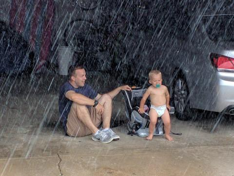 My son-in-law and grandson were out in the garage when the storm hit with no real warning..