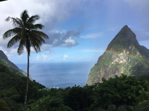 Just returned from St. Lucia, where it's the rainy season. We caught this rainbow over one of the Pitons after a rainfall. Mike and Karen Volk