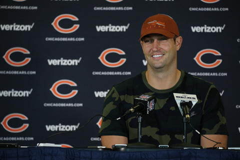 Bears quarterback Jay Cutler speaks at a press conference on the day the Bears arrive at training camp on July 27, 2016.