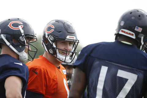 Jay Cutler smiles as he chats with Alshon Jeffery during drills on the first day of Bears training camp in Bourbonnais on Thursday, July 28, 2016.
