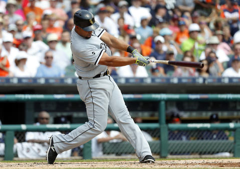 Jose Abreu hits a two-run home run against the Tigers in the second inning on Aug. 4, 2016 in Detroit.