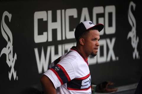 Jose Abreu in the dugout before a game on July 25, 2016 at U.S. Cellular Field.