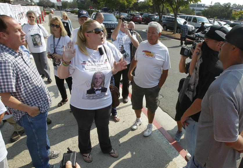 Photo On Shirt Was Killed By An Undocumented Immigrant Gets Into A Minor Confrontation Outside Of Vista Court After A Hearing For Estaysi Sanchez On