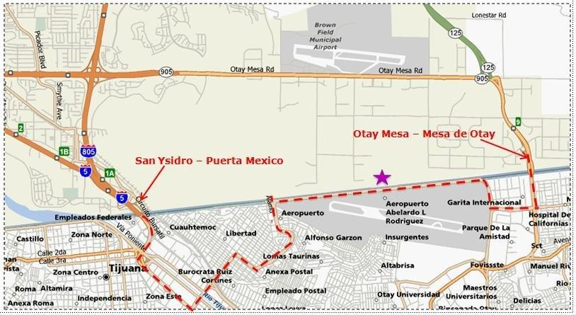 Revised border airport plan rose from grander vision the san star marks the location of the cross border pedestrian bridge to general abelardo l rodrguez international airport in tijuana sciox Images