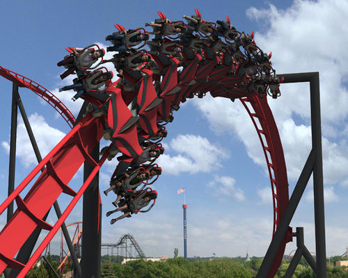 X-Flight by Bolliger & Mabillard will feature barrel rolls and high-speed drops with seats that straddle the 3,000-foot-long track.