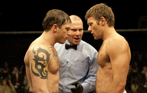 "Tom Hardy and Joel Edgerton prepare for battle in ""Warrior,"" opening Friday."