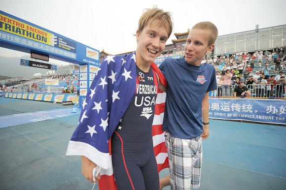 Lukas Verzbicas (left) and Kevin McDowell after Verzbicas won the World Junior Triathlon Sunday in Beijing (Delly Carr) / International Triathlon Union)