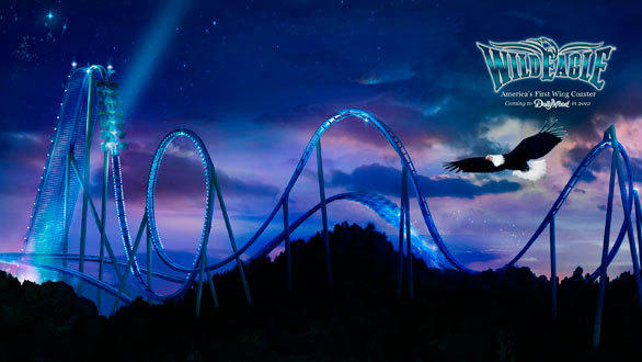 A depiction of the planned Wild Eagle winged coaster at Dollywood.