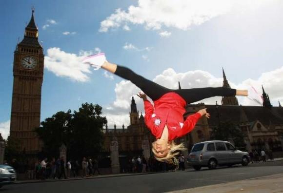 Nastia Liukin flipping Tuesday for Big Ben and the Houses of Parliament (Bryn Lennon/ Getty Images)