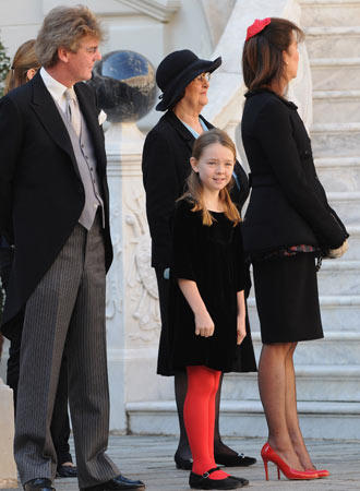 Prince Ernst August of Hanover, Princess Alexandra of Hanover (center) and Princess Caroline of Hanover attend the Award Ceremony for badges of rank and medals for employees at the Prince's Palace as part of Monaco's National Day celebrations on November 19, 2008, in Monte Carlo, Monaco.
