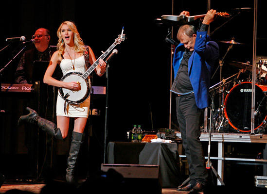 Glen Campbell and his daughter Ashley perform on his Goodbye Tour at Irvine Auditorium at the University of Pennsylvania in Philadelphia, Pennsylvania, on September 15, 2011.