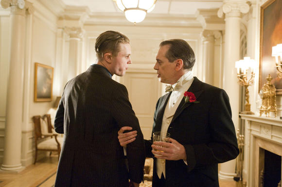 "Steve Buscemi strong-arms Michael Pitt in ""Boardwalk Empire."""