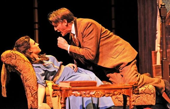 "Andrea Prestinario plays Eliza Doolittle and Nathan M. Hosner is Professor Henry Higgins in ""My Fair Lady."""
