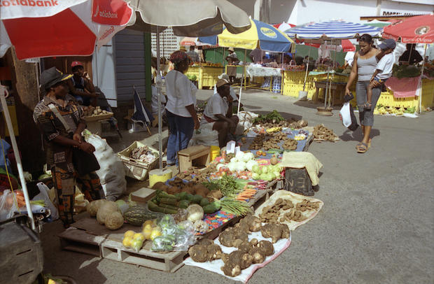 The open-air market in Dominica.