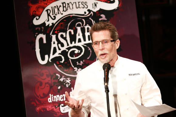 "Chef Rick Bayless announces the upcoming Lookingglass Theatre show ""Cascabel."" (Michael Tercha/Chicago Tribune)"