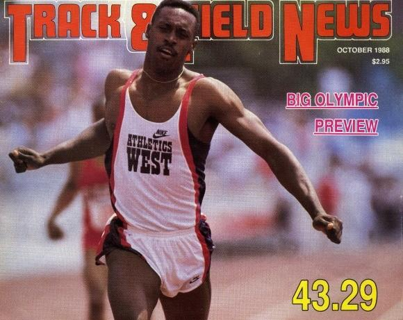 Track & Field News cover celebrating Butch Reynolds' world record.