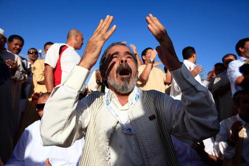 A Libyan attends the Eid al-Fitr prayer in Tripoli.