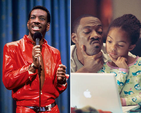 "The hallmark of Eddie Murphy's stand-up career was its un-PC edginess, a trait that carried over into Murphy's turn on ""Saturday Night Live"" and his early films. But for a while, the comedian was seen in more family films, such as ""Imagine That"" (right) ""The Nutty Professor"" and ""Meet Dave"" and his voicing of Donkey in the ""Shrek"" franchise.  <br> <br> As the following gallery reveals, he can play it mean, clean and many variations in between."