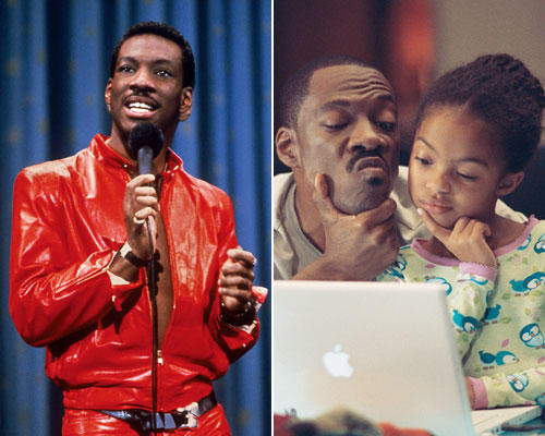 "The hallmark of <a class=""taxInlineTagLink"" id=""PECLB003275"" title=""Eddie Murphy"" href=""/topic/entertainment/eddie-murphy-PECLB003275.topic"">Eddie Murphy</a>'s stand-up career was its un-PC edginess, a trait that carried over into Murphy's turn on <a class=""taxInlineTagLink"" id=""ENTTV00000001"" title=""Saturday Night Live (tv program)"" href=""/topic/entertainment/television/saturday-night-live-%28tv-program%29-ENTTV00000001.topic"">""Saturday Night Live""</a> and his early films. But for a while, the comedian was seen in more family films, such as ""Imagine That"" (right) ""The Nutty Professor"" and <a class=""taxInlineTagLink"" id=""ENMV000067"" title=""Meet Dave (movie)"" href=""/topic/entertainment/movies/meet-dave-%28movie%29-ENMV000067.topic"">""Meet Dave""</a> and his voicing of Donkey in the ""<a class=""taxInlineTagLink"" id=""PEFCC0000012"" title=""Shrek (fictional character)"" href=""/topic/entertainment/movies/shrek-%28fictional-character%29-PEFCC0000012.topic"">Shrek</a>"" franchise.  <br> <br> As the following gallery reveals, he can play it mean, clean and many variations in between."