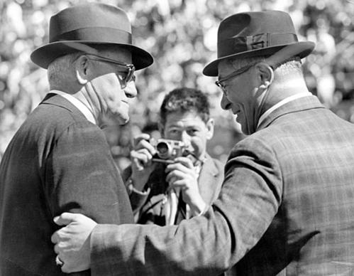 Chicago Bears coach George Halas and Green Bay Packers coach Vince Lombardi at Lambeau Field in 1964. These two legendary coaches are icons for their respective organizations.