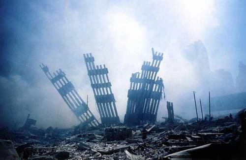 The rubble of the World Trade Center smoulders following a terrorist attack September11, 2001 in New York.