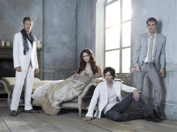 """The Vampire Diaries"": Nina Dobrev as Elena Gilbert, Ian Somerhalder as Damon Salvatore, and Paul Wesley as Stefan Salvatore."