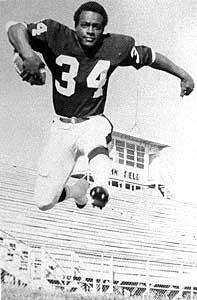 A young Walter Payton is shown during his college days at Division II Jackson State, where from 1971-74 he ran for 3,563 yards and 66 touchdowns and set the collegiate record for points scored at 464.