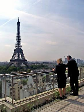 The Shangri-La Hotel occupies a landmark building across the River Seine from the Eiffel Tower.