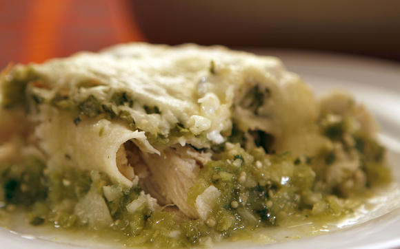 Green enchiladas in the oven