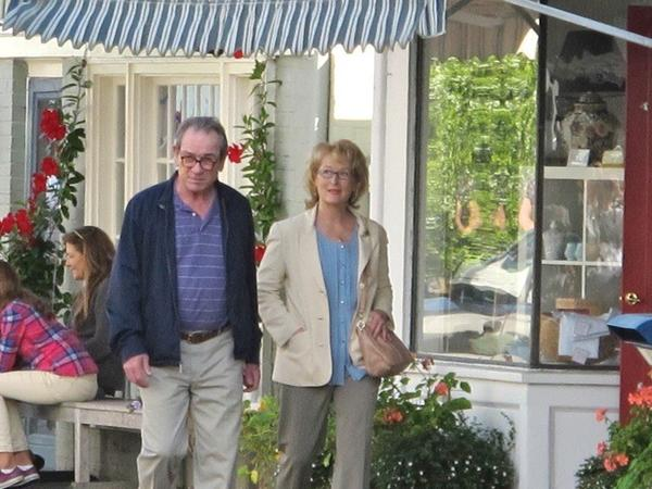 "Meryl Streep and Tommy Lee Jones roam the streets of Stonington while filming ""Great Hope Springs."""