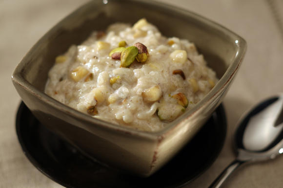 "<a href=""http://www.latimes.com/features/food/la-fo-sos7-2009oct07,0,6207472.story"" target=""_blank""><span style=""color:#2262CC"">Chilled banana and pistachio rice pudding</span></a."