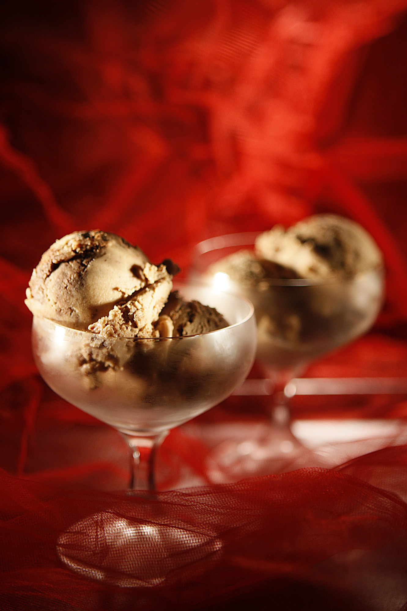 Chocolate hazelnut-swirl ice cream