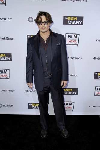 "Johnny Depp and the cast of the Bruce Robinson's adventure drama ""The Rum Diary"" gathered Thursday  at the Los Angeles County Museum of Art to premiere the film. ""The Rum Diary"" opens in theaters Oct. 28."