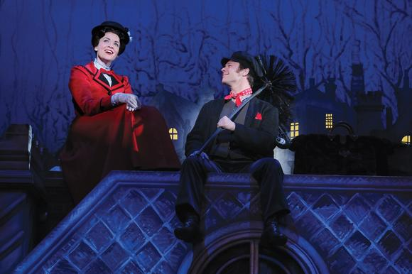 "Rachel Wallace as Mary and Nicolas Dromard as Bert in  ""Mary Poppins."""