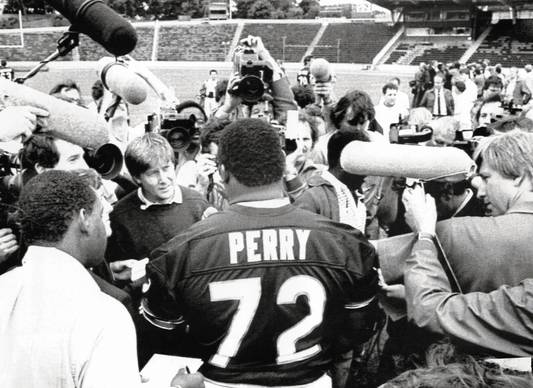 "William ""The Refrigerator"" Perry is the main attraction at the Crystal Palace Stadium in London."